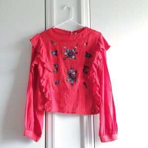 Free People Amy Embroidered Long Sleeve